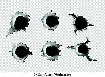 ragged hole in metal from bullets on White transparent...