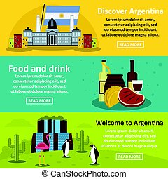 Argentina travel banner horizontal set, flat style -...