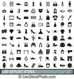 100 stylist icons set, simple style