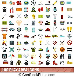 100 play area icons set, flat style - 100 play area icons...