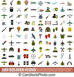 100 soldier icons set, flat style