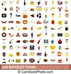 100 banquet icons set, flat style - 100 banquet icons set in...