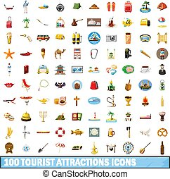 100 tourist attractions icons set, cartoon style - 100...