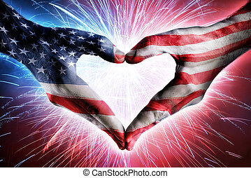Love And Patriotism - Usa Flag On Heart Shaped Hands And...