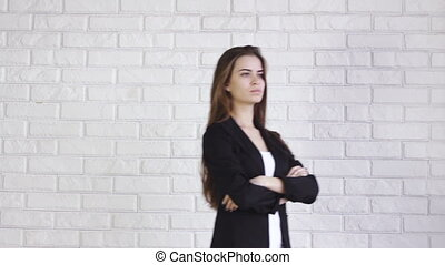 business woman walks from side to side