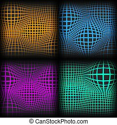 Set abstract backgrounds with half tone effect, vector...