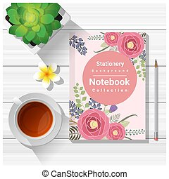 Summer scene with colorful notebook on wooden table background