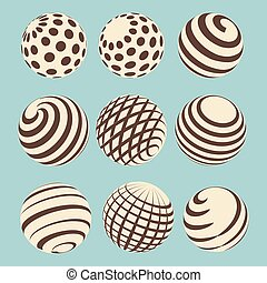 Halftone abstract spheres design with linear and dotted...