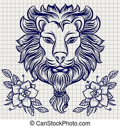 Lion head sketch with flowers