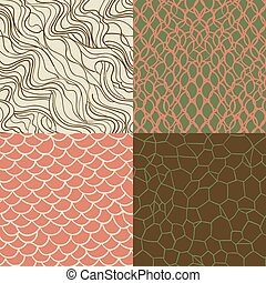 Hipster style seamless texture set - Hand drawn vintage...