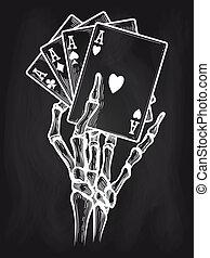 Chalkboard poster with black jack bones, vector illustration