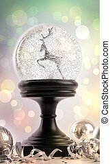 Snow-globe with ornaments against a colored background