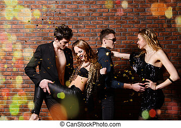 dances in ecstasy - Disco, night party concept. Group of...