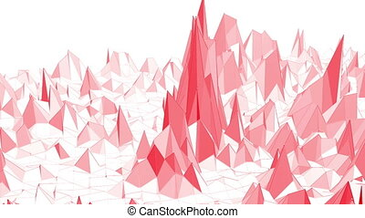 Rosy or pink low poly surface as sci-fi landscape. Polygonal digital mosaic red environment or background with moving in cartoon low poly popular modern stylish 3D design.