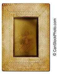 Vintage photo frame against white