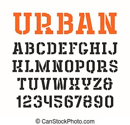 Stencil-plate serif font in urban style. Isolated on white...