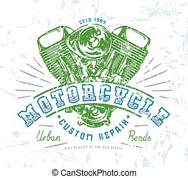 Motorbike club emblem for t-shirt. Graphic design with image...