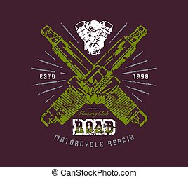 Motorcycle repair emblem. Graphic design for t-shirt with...