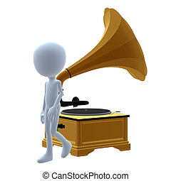 3D Guy Wtih A Phonograph