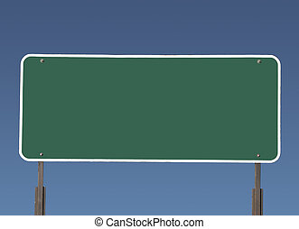 Big Blank Green Highway Sign - Big blank green highway road...