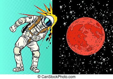 Cosmonaut knocks head on the wall. A dream to be on Mars