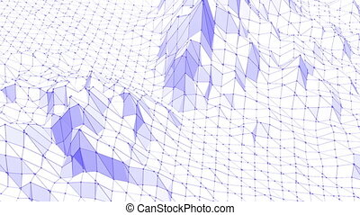 Violet abstract low poly waving surface as geometric grid. Violet abstract geometric vibrating environment or pulsating background in cartoon low poly popular modern stylish 3D design.