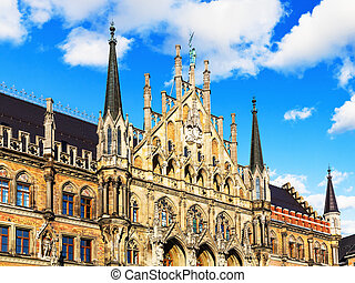 City Hall in Munich, Germany - Scenic summer view of ancient...