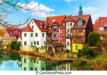 Traditional architecture in Lauf an der Pegnitz, Germany -...
