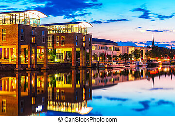 Evening view of Lubeck, Germany - Scenic summer evening view...