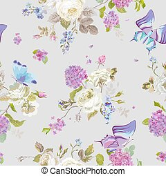 Colorful Flowers Background with Butterflies. Seamless Floral Shabby Chic Pattern in vector