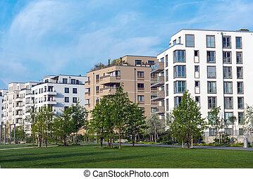 Housing area seen in Berlin, Germany - Modern housing area...