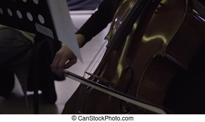 Musician playing violoncello, classic music - Close-up of...