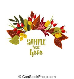 Autumn leaves with rose hip