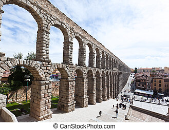 The ancient aqueduct in Segovia - The famous ancient...