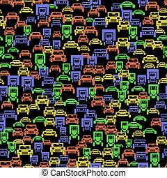 Colored Car Silhouette Seamless Pattern on Black Background
