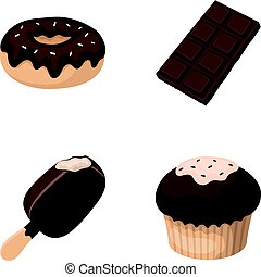 Donut with chocolate, zskimo, shokolpada tile, biscuit.Chocolate desserts set collection icons in cartoon style vector symbol stock illustration web.