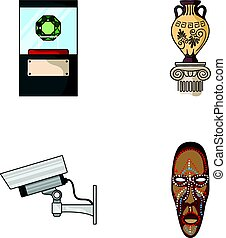 A diamond, a vase on a stand, a surveillance camera, an African mask. Museum set collection icons in cartoon style vector symbol stock illustration web.