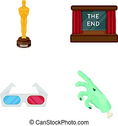 Award Oscar, movie screen, 3D glasses. Films and film set collection icons in cartoon style vector symbol stock illustration web.