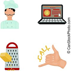 Cook, order by phone, grated cheese, ordering a face gesture.Pizza and pizzeria set collection icons in cartoon style vector symbol stock illustration web.