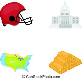Football player's helmet, capitol, territory map, gold and foreign exchange. USA Acountry set collection icons in cartoon style vector symbol stock illustration web.