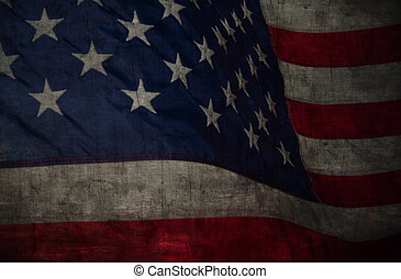 Closeup of grunge American flag. Vintage background