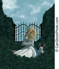 Alice In Wonderland - Alice in a straight jacket outside in...