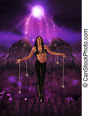 Gothic Angel - Gothic angel holding silver skulls and...