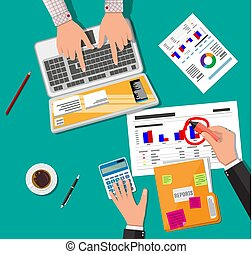 Financial report concept. Business background - Hands with...