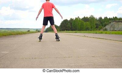 Adult inline skater make a fun. Well practise skater enjoy...