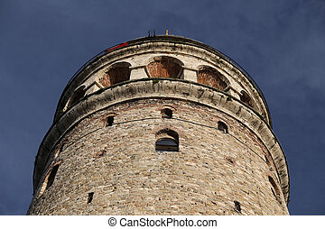 Galata Tower in Beyoglu, Istanbul, Turkey - Galata Tower in...