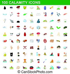 100 calamity icons set, cartoon style