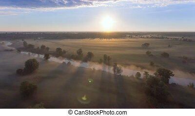 Aerial view of the dawn over the field in the fog