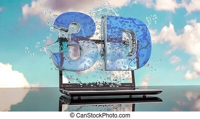 Splash water from the laptop screen with symbols 3d. Looped...