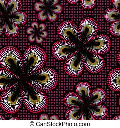 Seamless pattern with red tiare flower. Dots pattern. Monoi...